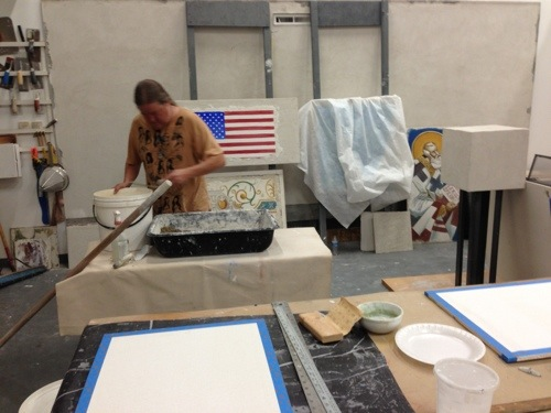 didactic fresco panels preparation for Getty