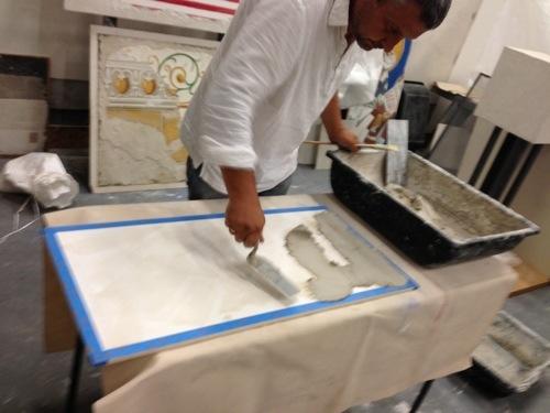 iLia Anossov fresco applying plaster