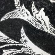 Black Sgraffito Fresco 002 (detail) – Buon Fresco – 16X16 on ceramic tile, renaissance collection, by iLia Fresco 2013
