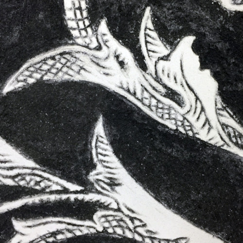 Black Sgraffito Fresco 002 (detail) – Buon Fresco – 16X16 on ceramic tile, renaissance collection, by iLia Fresco 2013