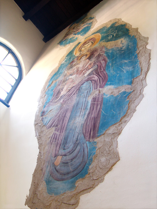 Byzantine Fresco Installation (detail - Virgin) - true (buon) fresco, by iLia Fresco (Anossov), Hollywood CA, 2011