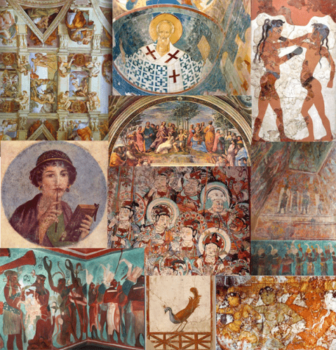 Collage of frescoes worldwide. Knossos Palace in Crete, Sistine Chapel at the Vatican, Temple of the Murals at Bonampak in Mexico, Byzantine Frescoes in Russia, China, Roman Pompeii, Italy, India.
