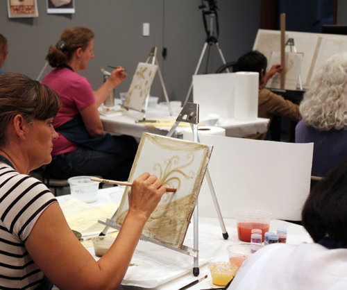 Getty Villa - Introduction to Fresco Painting - fresco workshop with iLia Anossov (fresco) - base under-painting