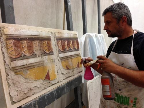 Aging didactic fresco panel, by iLia Fresco (Anossov)