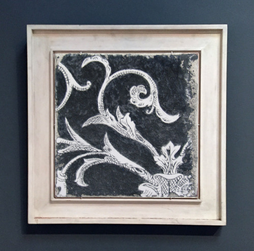 Black Sgraffito Fresco 002 – Buon Fresco – 16X16 on ceramic tile, renaissance collection, by iLia Fresco 2013