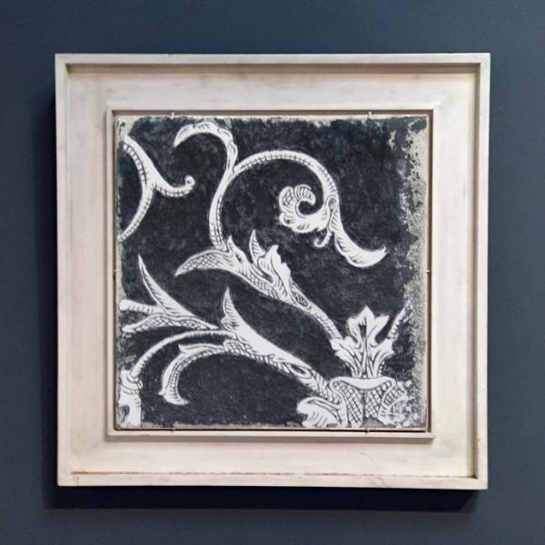 Black Sgraffito Fresco 002 – Buon Fresco – 16X16 on ceramic tile, renaissance collection, by iLia Fresco 2013