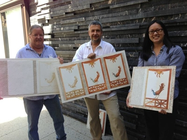 iLia Fresco, Juri Koll and Audrey Chan at the Getty Villa with didactic fresco panels
