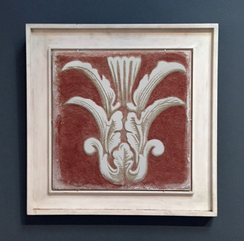 Red Sgraffito Fresco 001 – Buon Fresco – 16X16 on ceramic tile, renaissance collection, by iLia Fresco 2013