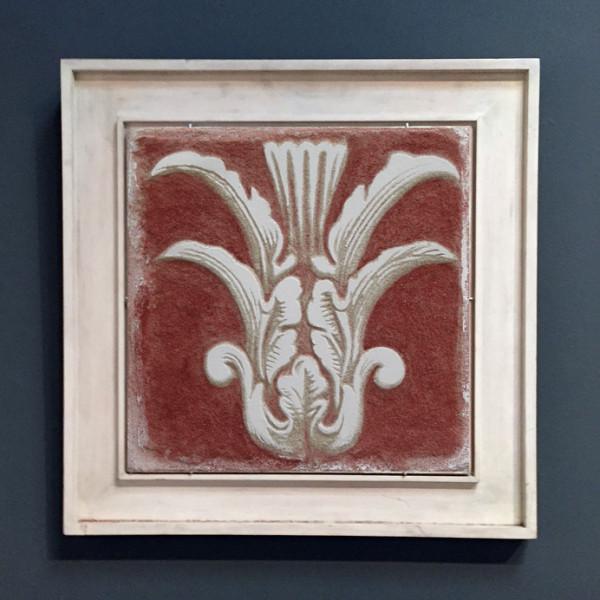 Red Sgraffito Fresco 001 – Buon Fresco – 16X16 on ceramic tile, renaissance collection, by iLia Fresco 2013