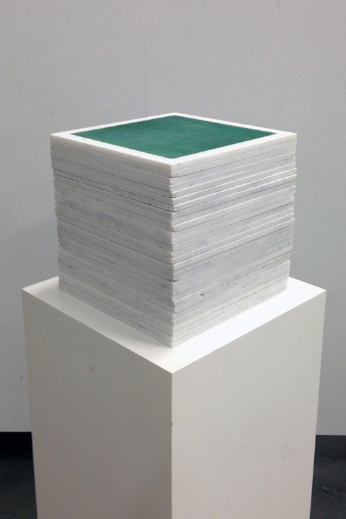 Mayan Green 1013 Cube Fresco Stack - Mayan Series, buon fresco and marble 12X12 on 16x16x48 pedestal by iLia Fresco (Anossov) 2013