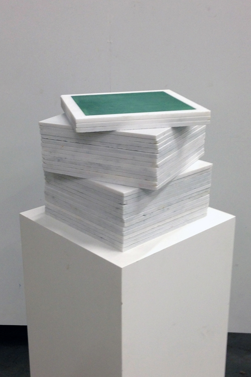 Mayan Green 1013 Cube Fresco Stack Turned - Mayan Series, buon fresco and marble 12X12 on 16x16x48 pedestal by iLia Fresco (Anossov) 2013