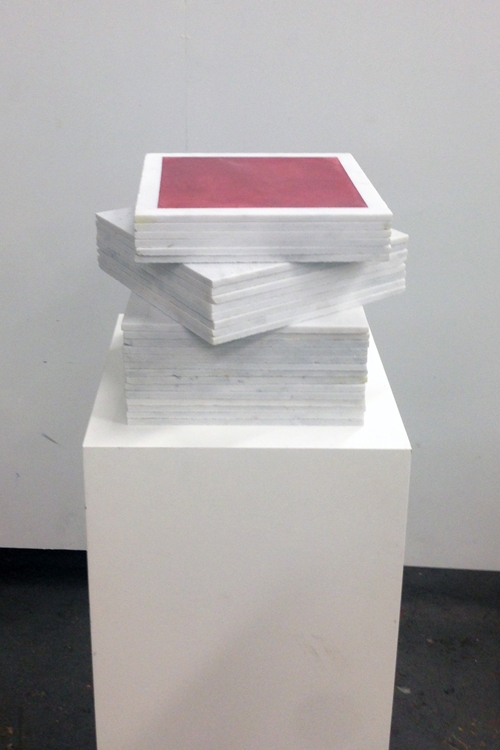 Mayan Red 1113 Cube Fresco Stack Turned – Mayan Series, buon fresco and marble 12X12 on 16x16x48 pedestal by iLia Fresco (Anossov) 2013