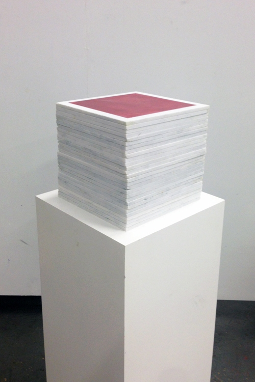 Mayan Red 1113 Cube Fresco Stack – Mayan Series, buon fresco and marble 12X12 on 16x16x48 pedestal by iLia Fresco (Anossov) 2013