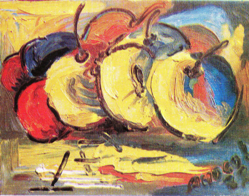 Mothers Apples, iLia Anossov (fresco) - oil on canvas 1988
