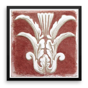 red sgraffito fresco 001 framed print by iLia Anossov, 16X16, 2013