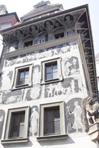 """The House at the Minute"" with sgraffito art. Old Town Square, Prague Czech Republic"