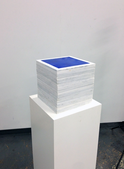 Ultramarine 0913 Cube Fresco Stack, buon fresco and marble 12X12 on 16x16x48 pedestal by iLia Fresco (Anossov) 2013